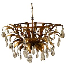 Italian Tolle Circular 5 Socket  Chandelier with Crystals, C 1950's-60's