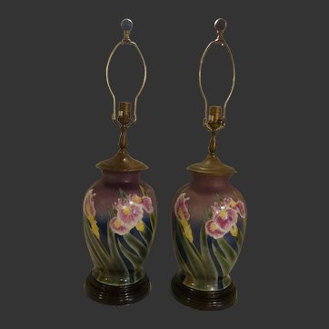 Pair of Vintage Porcelain Painted Iris Flower Lamps