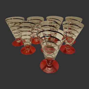 Art Deco Czech Footed Glasses, Set of 8