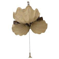 "Art Deco Shell Form 3 Lite Slip Shade Chandelier C 1920's-30""s"