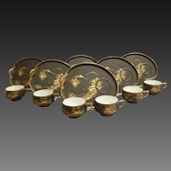 Set of 6 Hand Decorated Japanese Lithopone Geisha Cups & Kidney Shaped Plates C1940