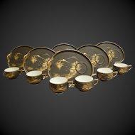 Set of 6 Hand Decorated Japanese Lithopone Geisha Cups & Kidney Shaped Plates C1940