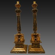 Pair Italian Table Lamps,Hand With Swans  Carved,Circa 1950's.