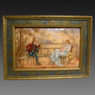 Antique French Military Painting on Copper Artist Signed J. Vallet, Rare