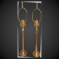 Pair Art Deco Rose Glass Boudoir Lamps with Mirror Bases Rare circa 1920's-30's