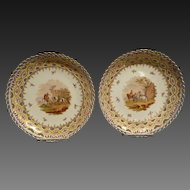 Antique Pair of Dresden Hand Painted Service Plates by Helena Wolfsohn  Circa 1843-1883