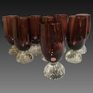 Mid Century Murano Glass Amethyst Water Goblets set of 8 1950's-60's