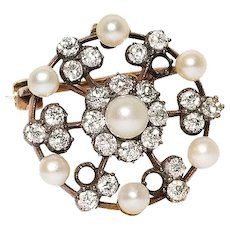 Silver Over Gold Diamond And Natural Pearl Brooch