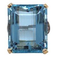 Ladies Platinum and 18K Yellow Gold  Aquamarine and Diamond Ring