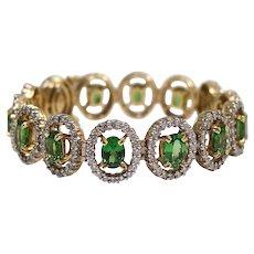 18k White and Yellow Gold Tsavorite and Diamond Bracelet