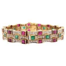 18K Yellow Gold Ruby, Emerald and Diamond Bracelet