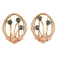 14K Yellow and Rose Gold Retro Tourmaline Clips
