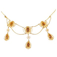 Edwardian 14k Yellow Gold Citrine and Seed Pearl Necklace