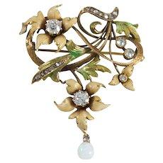Art Nouveau 14k Yellow Gold Diamond, Opal, and Enamel Brooch