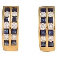 18k Yellow Gold Sapphire and Diamond Hoop Earrings