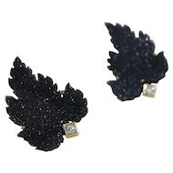 18k and 14k Yellow Gold Druzy and Diamond Earrings