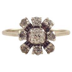 14k White Diamond Cluster Ring