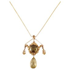 Victorian 14k Yellow Gold Zircon Necklace