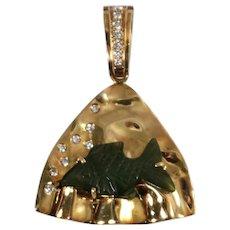 14k Yellow Gold Jade and Diamond Pendant