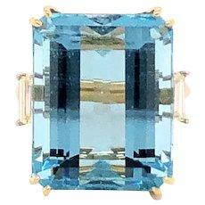 18k Yellow Gold Aquamarine And Diamond Cocktail Ring