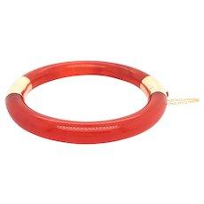14k Yellow Gold Carnelian Bangle Bracelet