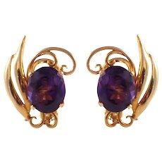 18k Yellow Gold Retro Amethyst Earrings
