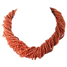 14k Yellow Gold Coral Torsade Necklace