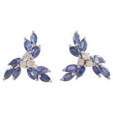 14K White Gold Sapphire and Diamond Earrings