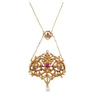 French Art Nouveau 18k Yellow Gold Ruby, Pearl, and Diamond Pendant