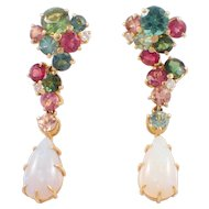 18k Yellow Gold Tourmaline, Diamond, and Opal Earrings