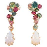 18k Yellow Gold Tourmaline, Diamond, and Opal Earrings