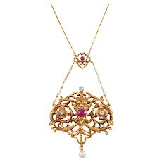 Art Nouveau Ruby, Pearl and Diamond French Pendant