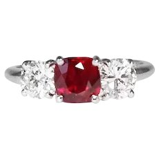 Platinum Ruby And Diamond Engagement Ring