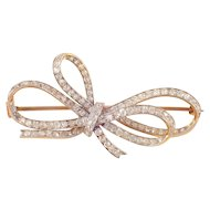 Platinum Over Gold Diamond Edwardian Bow Brooch