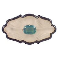 14K Yellow Gold Art Deco Onyx, Tourmaline and Crystal Brooch
