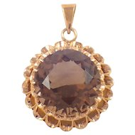 14K Yellow Gold Smoky Topaz Pendant