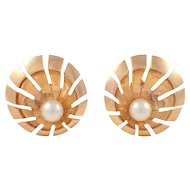 14K Yellow Gold Retro Pearl Earrings