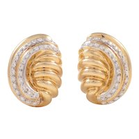 14k Yellow Gold and Diamond Ear Clips