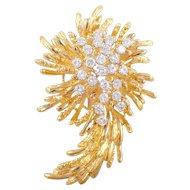 18k Yellow Gold Diamond Brooch