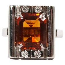 18k White Gold Citrine and Diamond Ring