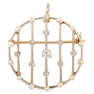 Platinum Over Gold Edwardian Diamond and Pearl Pin/ Pendant