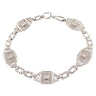 14K White Gold Art Deco Crystal and Diamond Bracelet