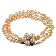 14K White Gold Pearl and Diamond Bracelet