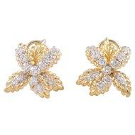 18K Yellow and White Gold Diamond Earrings
