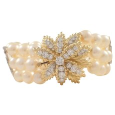 18K Yellow Gold Pearl and Diamond Bracelet