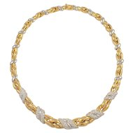 18K Yellow and White Diamond Necklace