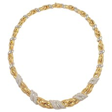18K Yellow and White Diamond Necklace