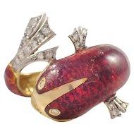 14k Yellow Gold Diamond and Enamel Fish Ring