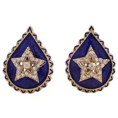 Mid Century 14K Yellow Gold Enamel and Diamond Earrings