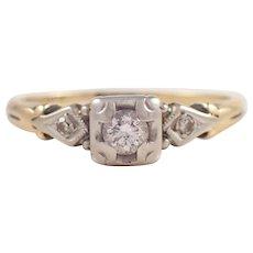 Retro 14k Yellow Gold Diamond Engagement Ring